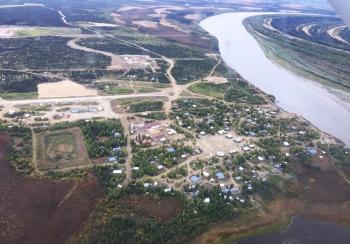 Aerial view of Huslia native village.