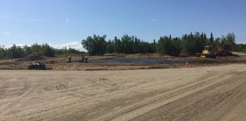 Construction on the Huslia biomass project.