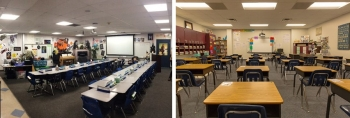 Side-by-side photos of classrooms with tunable LED lighting