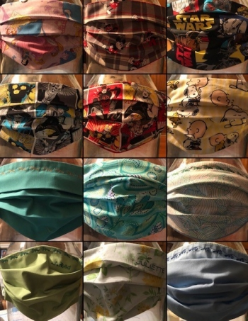 A collection of the masks Cassandra Jones has sewn.