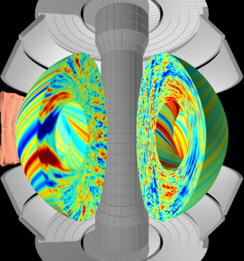 Supercomputer simulation of plasma turbulence in a spherical tokamak.