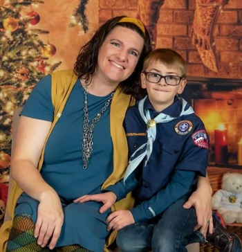 Beth Walker, an engineer at the NNSA's Kansas City Field Office, and her son Nathan, who has a rare genetic disease that gives him little or no immune defenses.