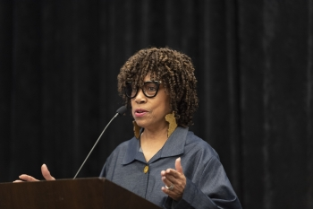 Melinda Downing, manager of the DOE EJ Program, speaks at the 2019 National Environmental Justice Conference and Training Program.