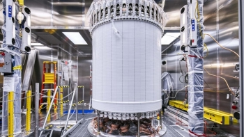 The LUX-ZEPLIN xenon-based dark matter detector being assembled at the Sanford Underground Research Facility.