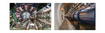 The CMS (top-left) and ATLAS (bottom-left) experiments at the Large Hadron Collider (right) at CERN.