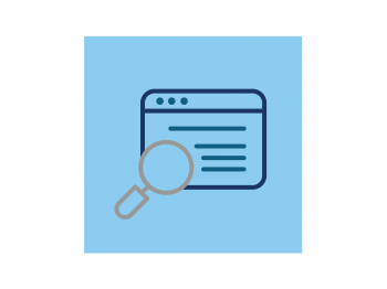 Icon of a web page with a magnifying glass.