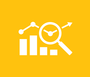 Yellow spherical icon of bar chart with magnifying glass
