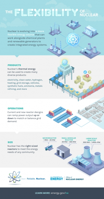 Infographic highlighting three ways nuclear is flexible in terms of operation, size and products.