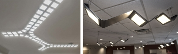 Two photos side by side of ceiling-mounted OLED light fixtures.