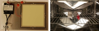 Two photos side by side, one of an OLED panel and the other of a caliper light on a wire rack.