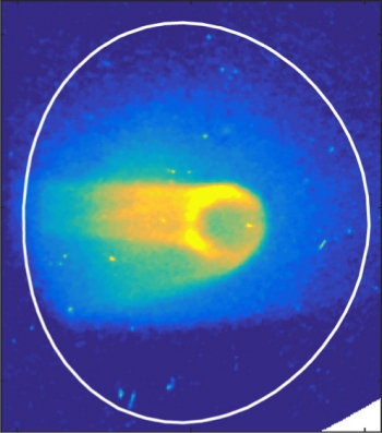 This image shows an instability (the ring-like structure at the center) caused by a runaway electron beam inside the DIII-D tokamak. These instabilities suggest methods for controlling these damaging electron beams.