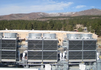 The installed cooling towers and equipment for the Exascale Class Computer Cooling Equipment Project at Los Alamos National Laboratory.