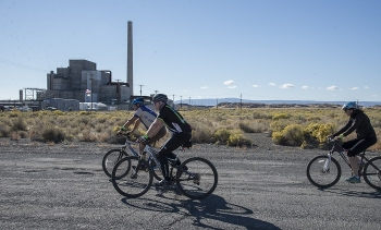 DOE, in partnership with a local biking club and the National Park Service, has sponsored an annual bike ride around the B Reactor at the Hanford Site, as shown here in this 2016 photo.