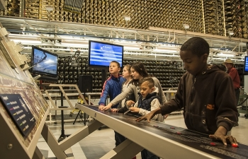 In this 2016 photo, schoolchildren explore the B Reactor, a popular field trip destination for elementary, middle, and high schools.