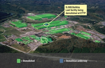This graphic shows all facilities that have been demolished to date at the East Tennessee Technology Park in Oak Ridge. Demolition of the only remaining building, K-1600, is advancing.