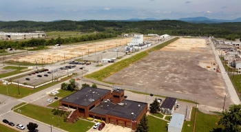 An aerial view of the massive K-25 footprint spanning 44 acres at Oak Ridge. Future plans call for transforming the footprint into a commemorative site as part of the Manhattan Project National Historical Park.