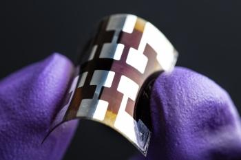 Flexible perovskite solar cell. Photo courtesy of Dennis Schroeder / NREL.