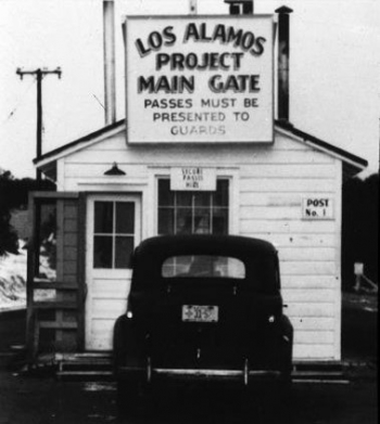 The original gate through which workers entered Los Alamos National Laboratory during the Manhattan Project years.