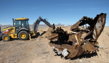 Navarro Research and Engineering, Inc. performed environmental corrective actions at the Clean Slate III site in July 2019 that included removing contaminated soil and debris for packaging and disposal at the Nevada National Security Site.