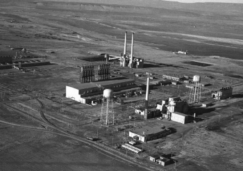 In this photo from World War II, Hanford's B Reactor can be seen between the water towers at right, along with other facilities that supported reactor operations. The reactor began operating in September 1944 and was shut down from 1946-1948. It then went