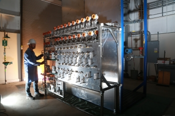 Feed control system for EcoCatalytic's new ethylene process pilot unit at Southwest Research Institute. Photo credit: EcoCatalytic