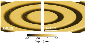 Comparison of atomic force microscopy (AFM) characterization of the surfaces of the bullseye lenses made using the conventional focused ion beam sculpting method (left) and the new electron beam lithography method (right).