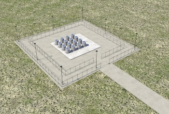 A conceptual illustration shows an outdoor storage area where large concrete casks designed to hold radioactive cesium and strontium capsules will be placed in a safe, compliant configuration at the Hanford Site.