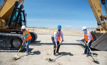 Hanford Site federal, state, and contractor officials recently broke ground to place a 1,600-foot waste-transfer pipeline that will feed waste pretreated by the Tank-Side Cesium Removal System from the site's tank farms to the nearby Low-Activity Waste Fa