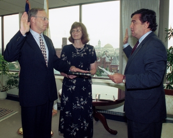 Gen. John A. Gordon is sworn in as NNSA Administrator by Secretary of Energy Bill Richardson in June 2000.