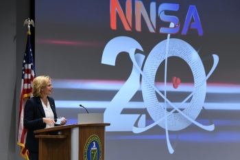NNSA Administrator Lisa E. Gordon-Hagerty speaks during the NNSA 20th Anniversary Celebration event that recognized the milestones the Pantex team has met despite the pandemic..