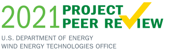 "Text logo that says ""2021 Project Peer Review Wind Energy Technologies Office"""