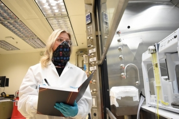 Chemists at Hanford's Waste Treatment and Immobilization Plant, such as Jaime Edwards, developed training and procedures and verified laboratory equipment performance over the past two years.