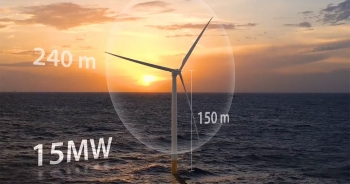 Wind turbine in the water at sunset surrounded by a light from a tool that measures offshore wind performance.