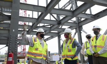 Brett Riffert, a superintendent on the Uranium Processing Facility construction, updates NNSA Administrator Lisa E. Gordon-Hagerty on the its progress at Y-12 National Security Complex.