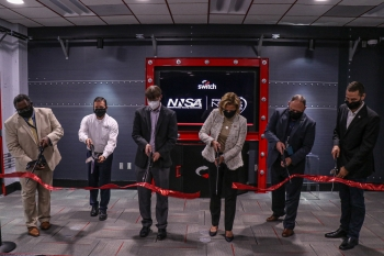 NNSA Administrator Lisa E. Gordon-Hagerty, joined by officials from NNSA's Office of Information Management, Switch, and the Nevada Field Office, open the new Emergency Communications Network in Las Vegas.