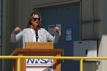 NNSA Administrator Lisa E. Gordon-Hagerty celebrates the completion of completion of the Argus security project at the Device Assembly Facility at the Nevada National Security Site.