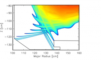 An example from the DOE DIII-D facility of the perturbation to the edge region of a tokamak's magnetic field due to resonant magnetic fields.