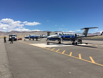 NNSA aircraft are parked on the Grand Junction calibration pads.