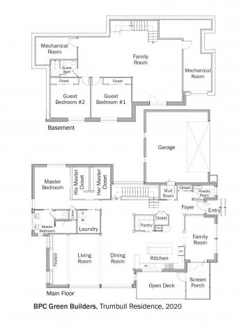 Floorplans for DOE Tour of Zero: Trumbull Residence by BPC Green Builders.