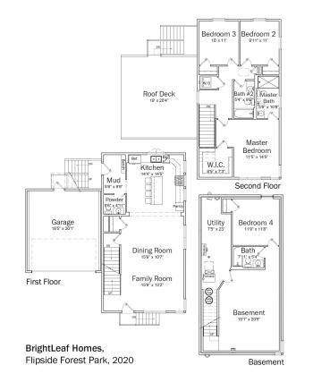 Floorplans for DOE Tour of Zero: Flipside Forest Park by BrightLeaf Homes.