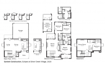 Floorplans for DOE Tour of Zero: Eclipse at Silver Creek Village by Garbett Homes.