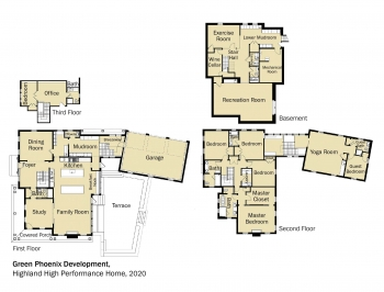 Floorplans for DOE Tour of Zero: Highland High Performance Home by Green Phoenix Development.