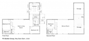Floorplans for DOE Tour of Zero: Way Back Barn by P3 Builder Group.