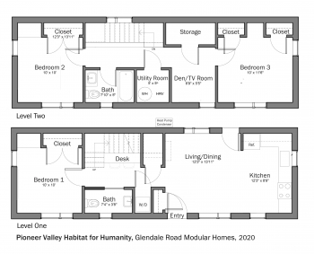Floorplans for DOE Tour of Zero: Glendale Road Modular Homes by Pioneer Valley Habitat for Humanity.