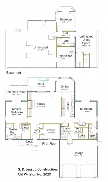 Floorplans for DOE Tour of Zero: Old Winston Road by S.D. Jessup Construction Inc.