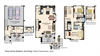Floorplans for DOE Tour of Zero: WestRidge 3-Story Rowhomes by Thrive Home Builders / New Town.