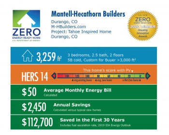 Tahoe Inspired Home by Mantell-Hecathorn Builders: 3,259 square feet, HERS 14, $50 average energy bill, $2,450 annual savings, $112,7000 saved over 30 years.