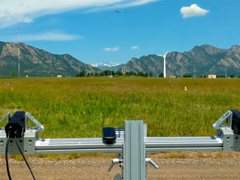 ThermalTracker-3D tracks an unmanned aerial system (visible top, center) during testing at the NREL Flatirons Campus.