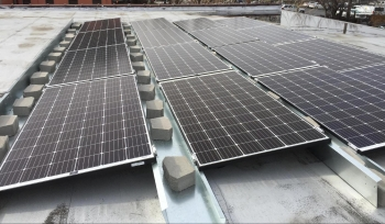 solar photovoltaic array on the roof using a prototype of the racking system