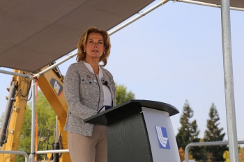 NNSA Administrator Lisa E. Gordon-Hagerty speaks during the groundbreaking ceremony of the Emergency Operations Center at Lawrence Livermore National Laboratory.